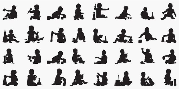 Baby boy plying with toy silhouettes illustration