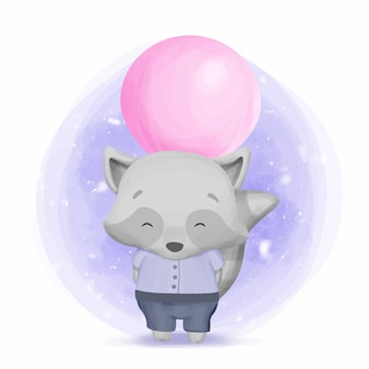 Baby boy raccoon hiding a balloon