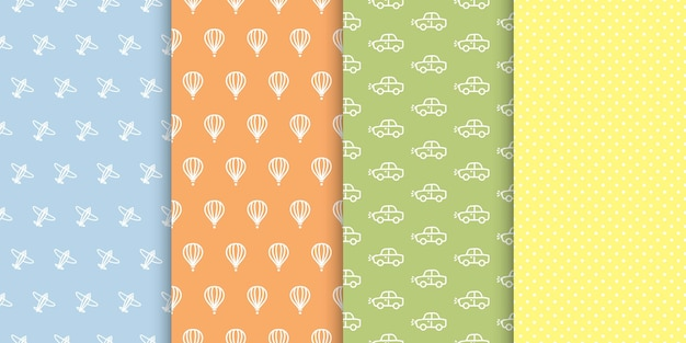 Baby boy seamless   patterns set. polka dots, cars, airplanes, hot air balloon colorful backgrounds.