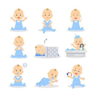 Baby boy set. cute child in blue sleeping, playing and eating.