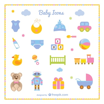 Baby boy set of icons