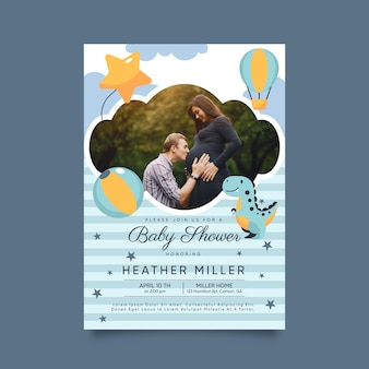 Baby boy shower invitation template concept