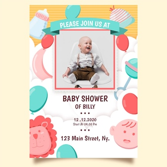 Baby boy shower invitation template theme