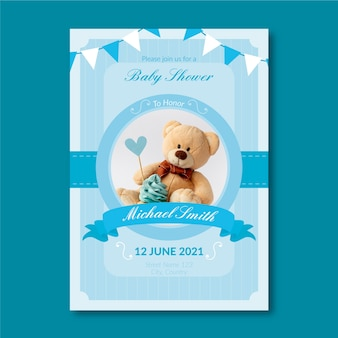Baby boy shower invitation template with photo