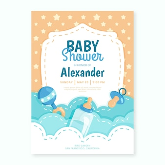 Baby boy shower invitation template