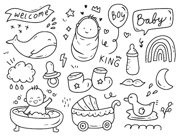 Baby boy shower party doodle drawing collection set