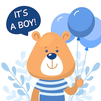 Baby boy shower with bear