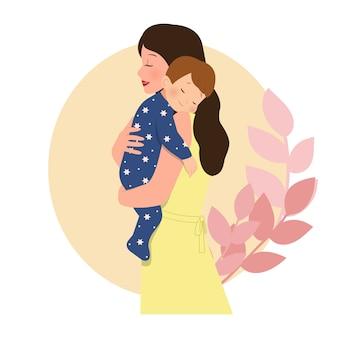 母親の腕で寝ている男の子。ママと赤ちゃんを抱き締めます。親子関係。白で隔離フラットスタイルのベクターデザイン。