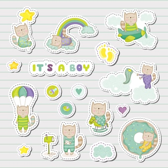Baby boy stickers, patches for baby shower party celebration. decorative elements for newborn celebration. illustration