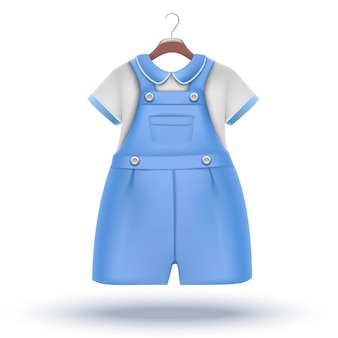 Baby boy wardrobe blue overalls with white t-shirt for special occasion on the hanger.
