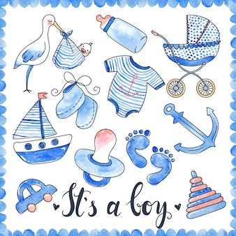 Baby boy watercolor elements set