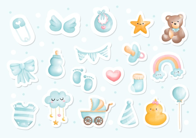 Baby boy watercolor sticker sheet, printable planner.