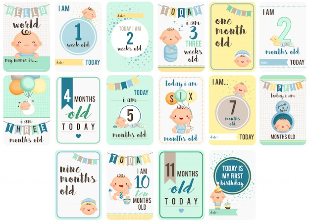 Baby boy weeks and months cards