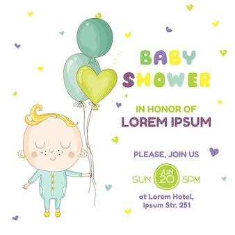 Мальчик с воздушным шаром открытка на детский душ