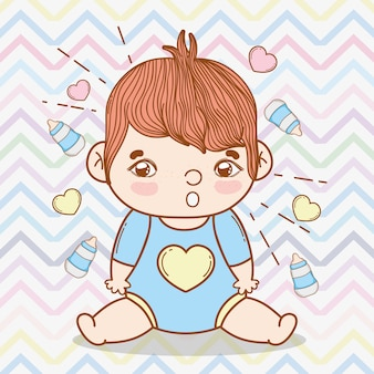 Baby boy with hearts and feeding bottles background