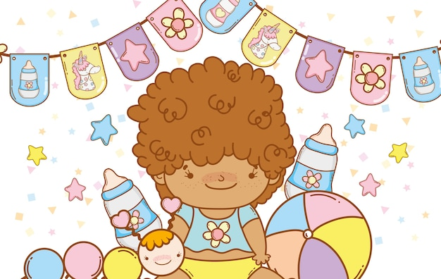 Baby boy with party flags decoration
