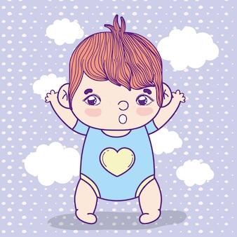 Мальчик с пиджамой над облаками фон