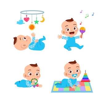 Baby boy with toys set