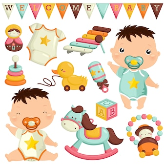 Baby boy with toys vector set