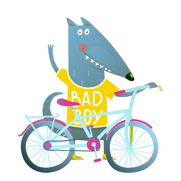 子供のための自転車のかわいいスポーツ漫画で男の子のオオカミや犬のキャラクターの挨拶