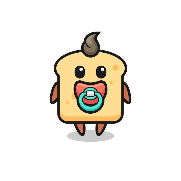 Baby bread cartoon character with pacifier , cute style design for t shirt, sticker, logo element