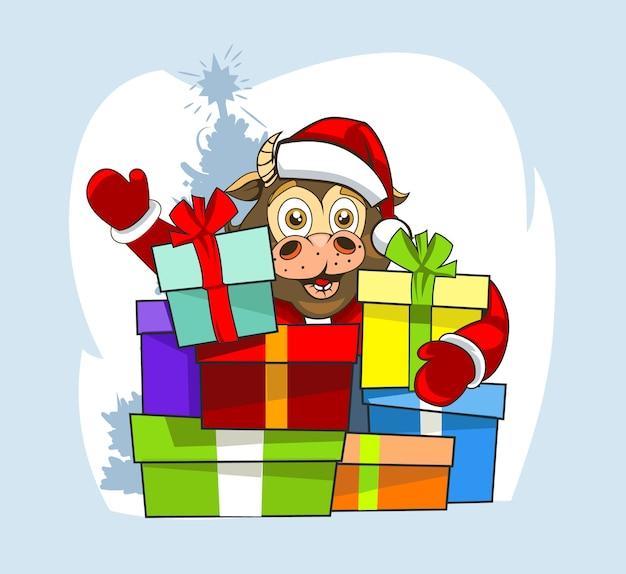 Бык в одежде санта-клауса и много подарков.