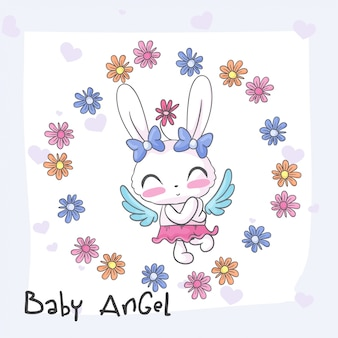 Baby bunny cute angel seamless pattern