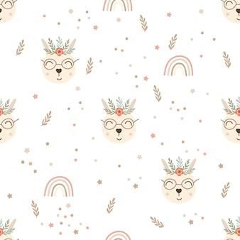 Baby bunny nursery seamless pattern design.