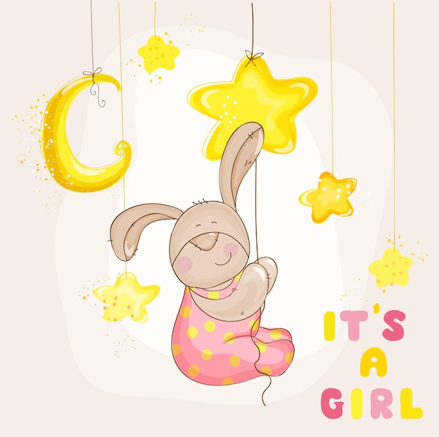 Baby bunny with stars and moon  baby shower