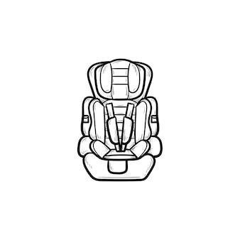 아기 카시트 손으로 그린 개요 낙서 아이콘. 어린이 안전 및 교통, 어린이 여행 개념을 보호합니다. 인쇄, 웹, 모바일 및 흰색 배경에 인포 그래픽에 대한 벡터 스케치 그림.