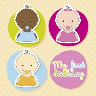 Baby card over beige background vector illustration