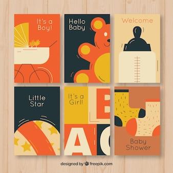 Raccolta di carte per bambini in stile piatto