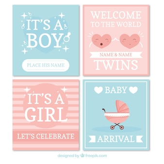 Baby cards collection in hand drawn style Free Vector
