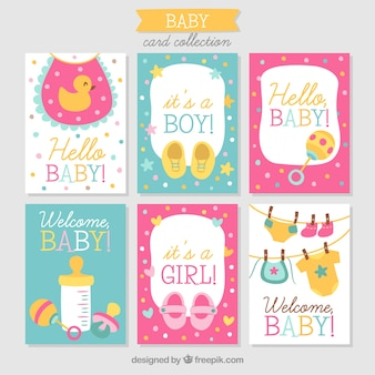 Baby cards collection in hand drawn style