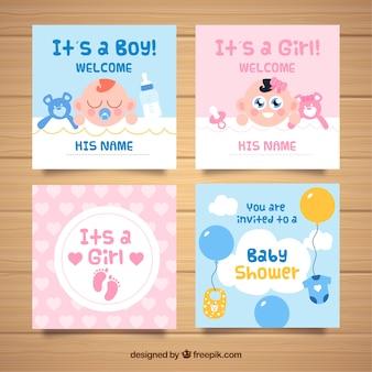 Коллекция детских карточек в плоском стиле