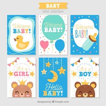 Коллекция детских карт в ручном стиле