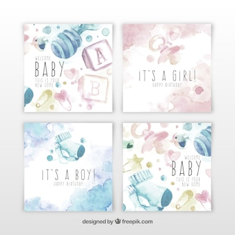 Baby cards collection in watercolor style