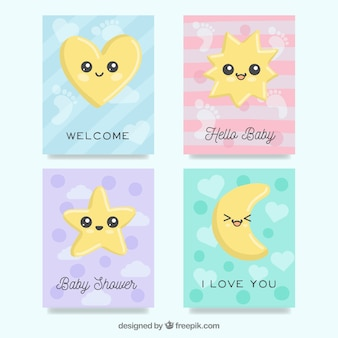 Baby cards collection with cute cartoons