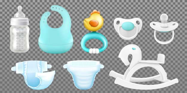 Baby care accessories. realistic childish isolated items, hygiene products baby bottle for milk, pacifiers for newborns, nipples, child's wooden rocking horse, baby bib, rattle, diapers. vector