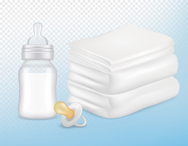 Baby care accessories in realistic style