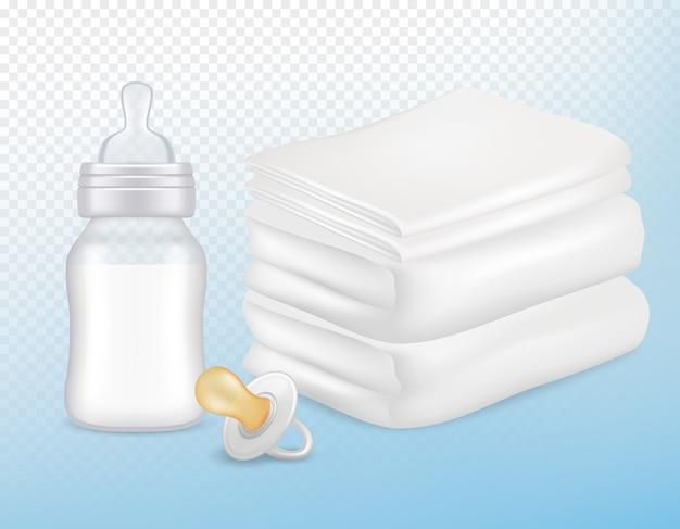 Набор аксессуаров для ухода за ребенком. реалистичная иллюстрация белых полотенец, соски, бутылки молока новорожденного с силиконовым соском, изолированных на прозрачном фоне.