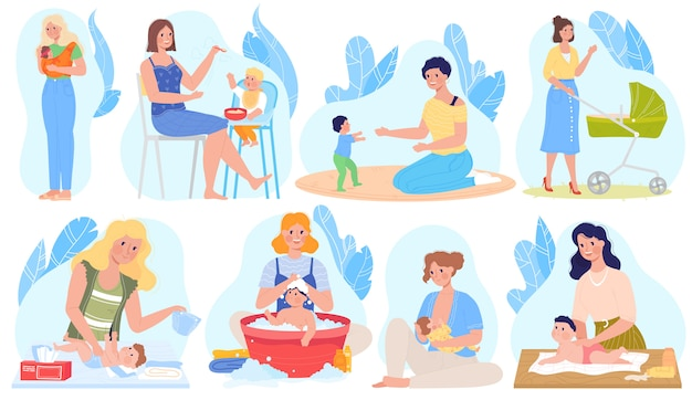 Baby care, breastfeeding  illustrations, cartoon  set with mother character breastfeed, giving newborn baby milk, feeding playing