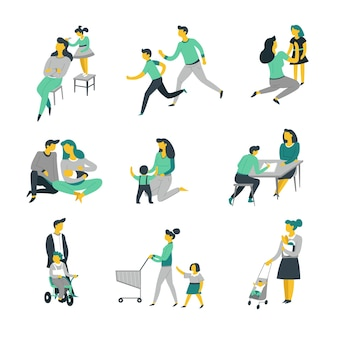 Уход за ребенком, воспитание ребенка, родители и дети, изолированные персонажи вектор мать и отец, дочь и сын, новорожденный, играющий и занимающийся спортом, переодевание и выполнение домашних заданий, прогулки и шоппинг, отцовство