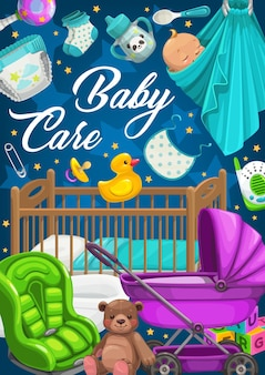Baby care products, clothes and toys