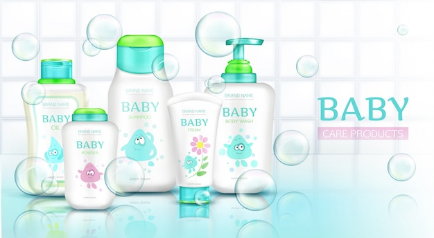 Baby care products, cosmetics bottles with kids cartoon