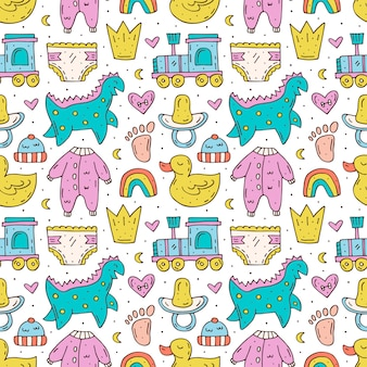 Baby care stuff, clothes, toys cartoon seamless pattern