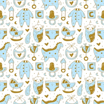 Baby care stuff, clothes, toys cute hand drawn seamless pattern