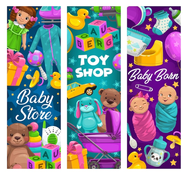 Baby care, toys shop, cartoon kids stuff store