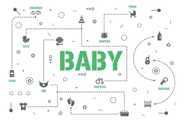 베이비 케어 단어 개념 배너입니다. 아기를 위한 어린이 장비. 보육 인포 그래픽. 프레젠테이션, 웹사이트. ui ux 아이디어. 글리프 아이콘이 있는 격리된 레터링 타이포그래피. 벡터 평면 그림입니다.