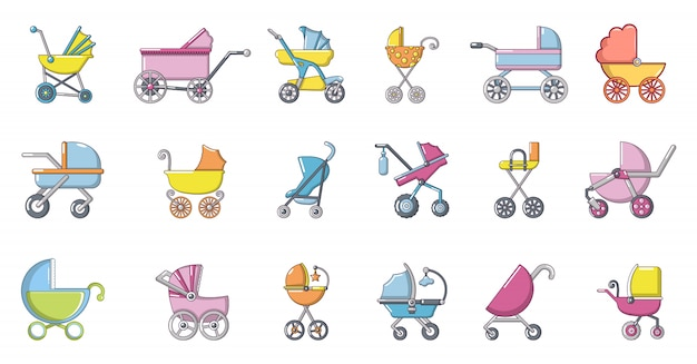 Baby carriage icon set. cartoon set of baby carriage vector icons set isolated